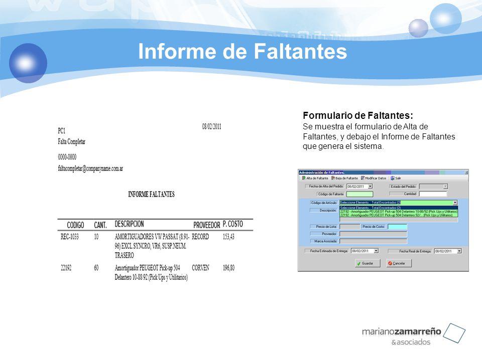 Informe de Faltantes Formulario de Faltantes: