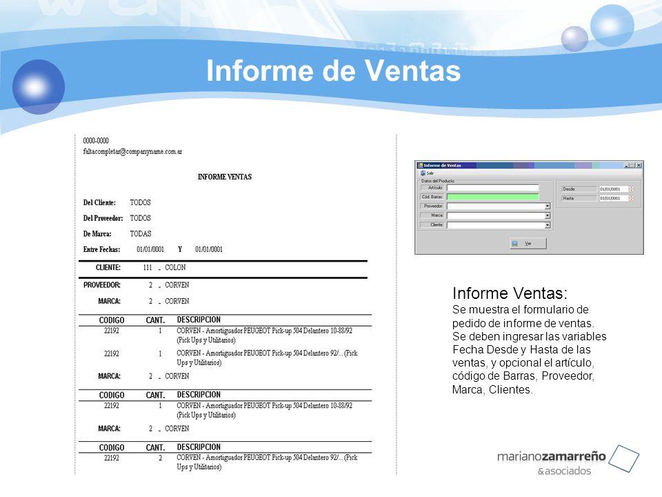 Informe de Ventas Informe Ventas: