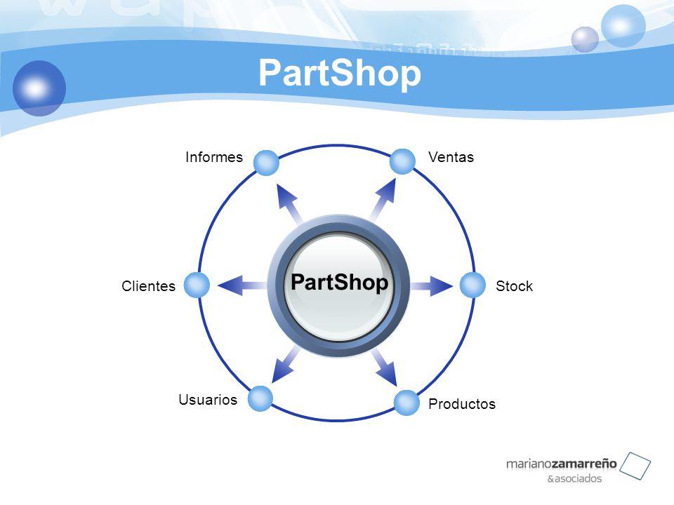 PartShop Informes Ventas PartShop Clientes Stock Usuarios Productos