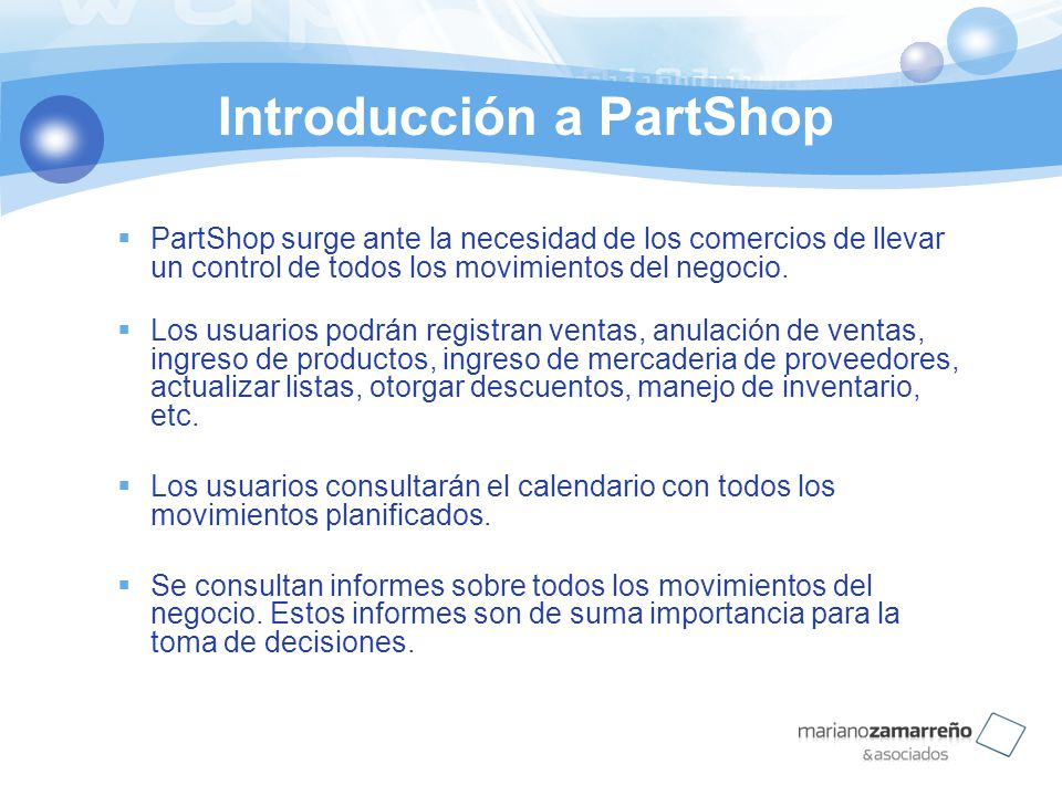 Introducción a PartShop