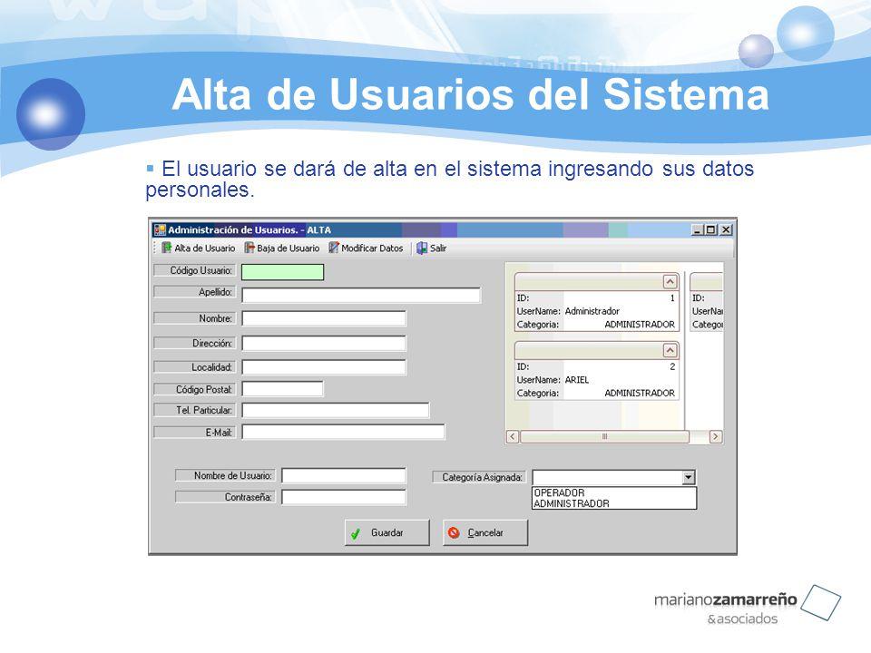 Alta de Usuarios del Sistema