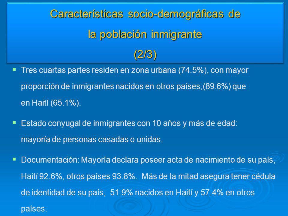 Características socio-demográficas de la población inmigrante (2/3)