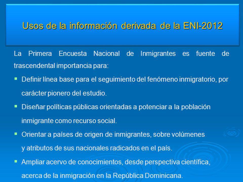 Usos de la información derivada de la ENI-2012