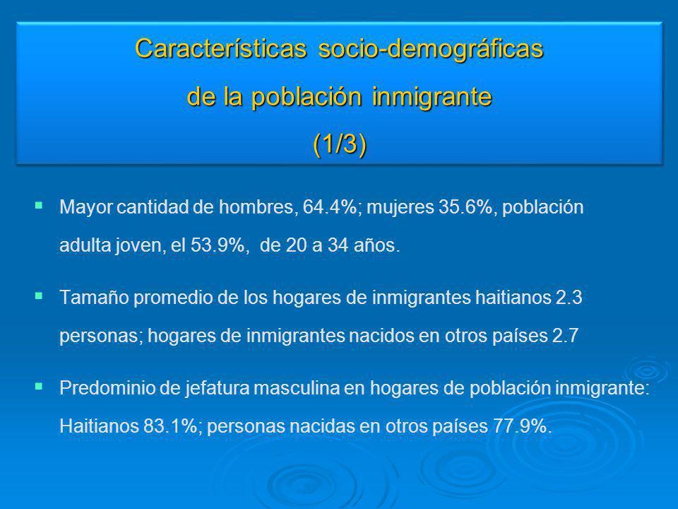 Características socio-demográficas de la población inmigrante (1/3)