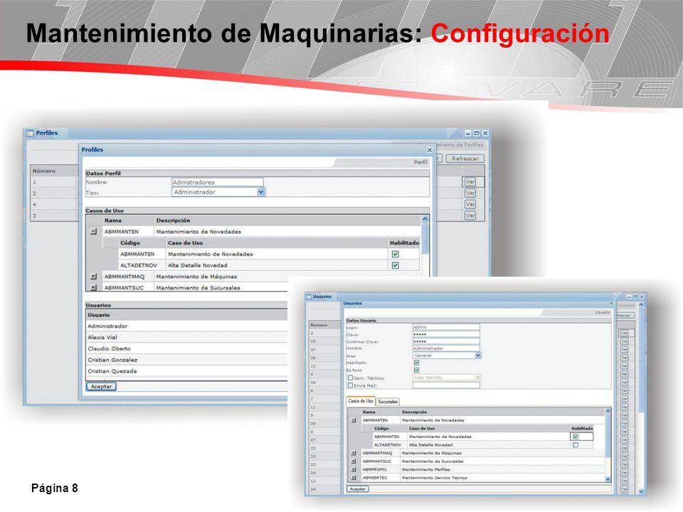 Mantenimiento de Maquinarias: Configuración