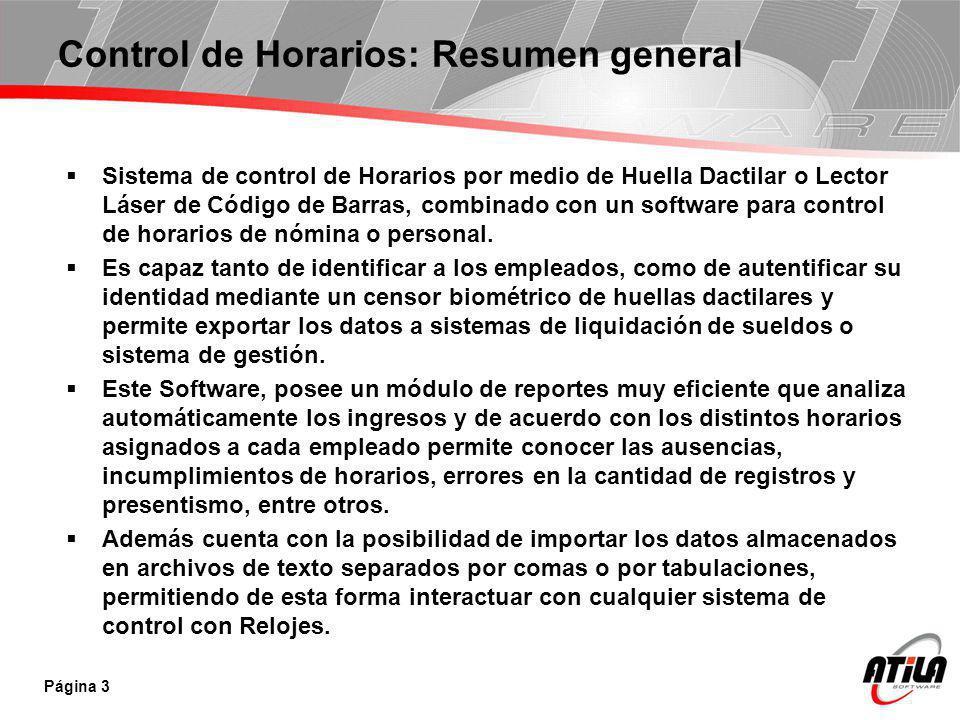 Control de Horarios: Resumen general