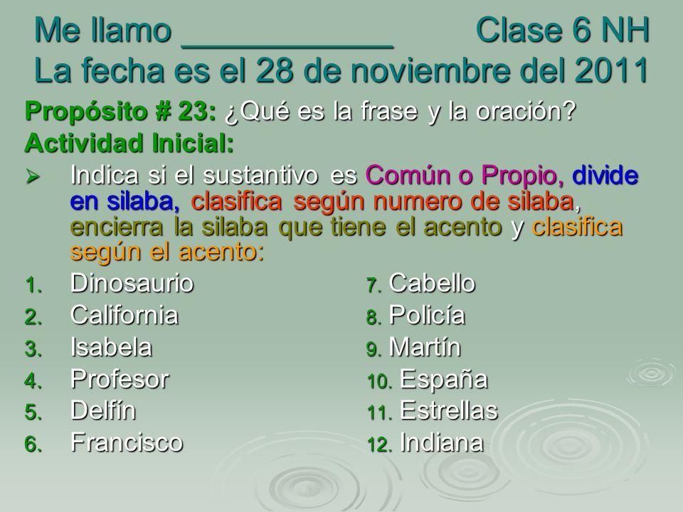 Me llamo ___________ Clase 6 NH La fecha es el 28 de noviembre del 2011