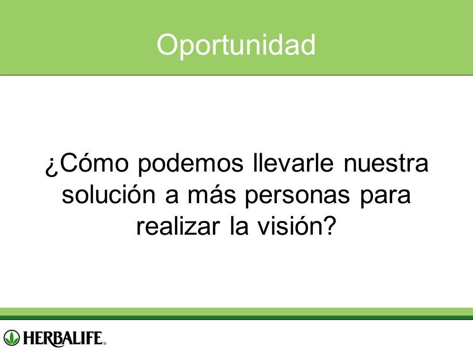 Oportunidad ¿Cómo podemos llevarle nuestra solución a más personas para realizar la visión