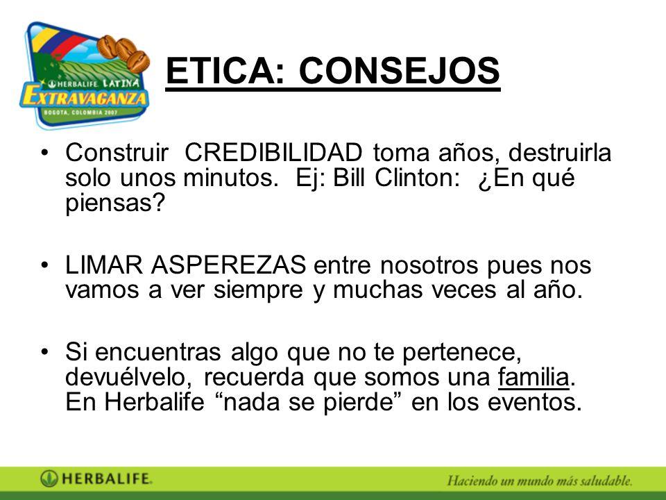 ETICA: CONSEJOS Construir CREDIBILIDAD toma años, destruirla solo unos minutos. Ej: Bill Clinton: ¿En qué piensas