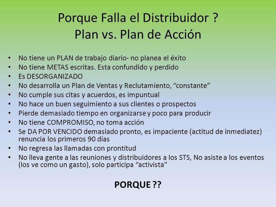 Porque Falla el Distribuidor Plan vs. Plan de Acción