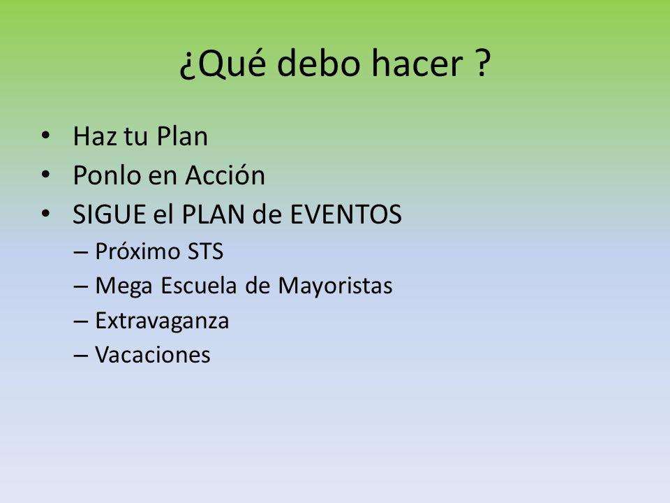 ¿Qué debo hacer Haz tu Plan Ponlo en Acción SIGUE el PLAN de EVENTOS