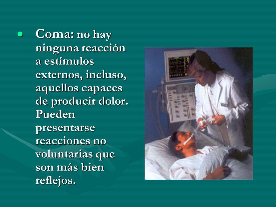 Coma: no hay ninguna reacción a estímulos externos, incluso, aquellos capaces de producir dolor.