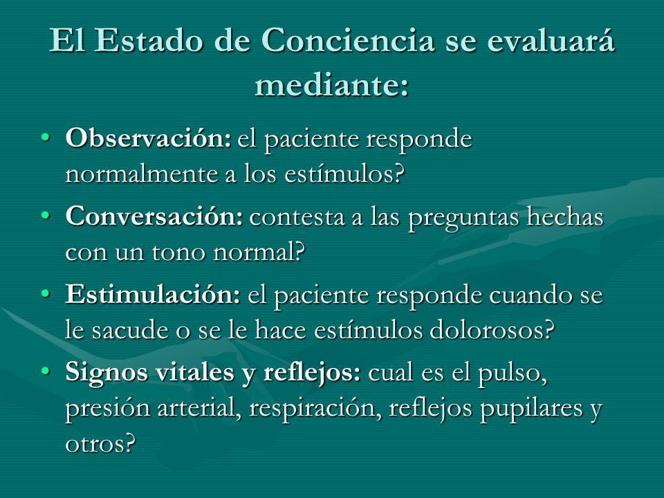El Estado de Conciencia se evaluará mediante: