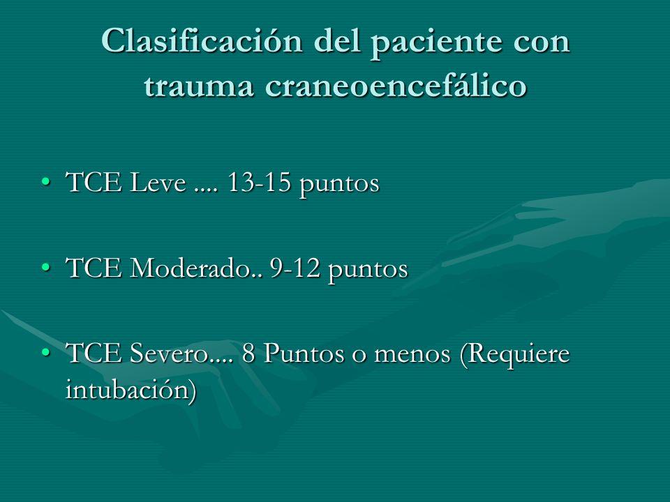 Clasificación del paciente con trauma craneoencefálico