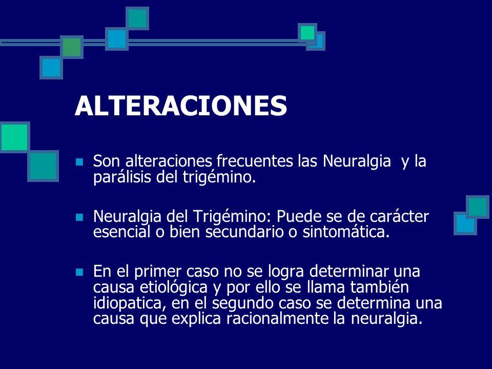 ALTERACIONES Son alteraciones frecuentes las Neuralgia y la parálisis del trigémino.