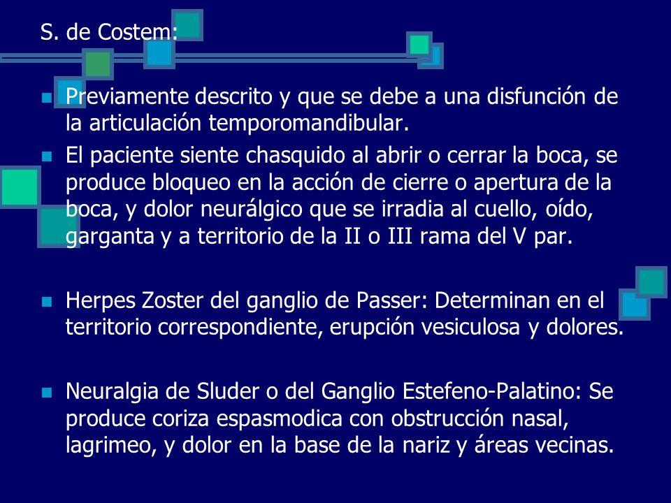 S. de Costem: Previamente descrito y que se debe a una disfunción de la articulación temporomandibular.