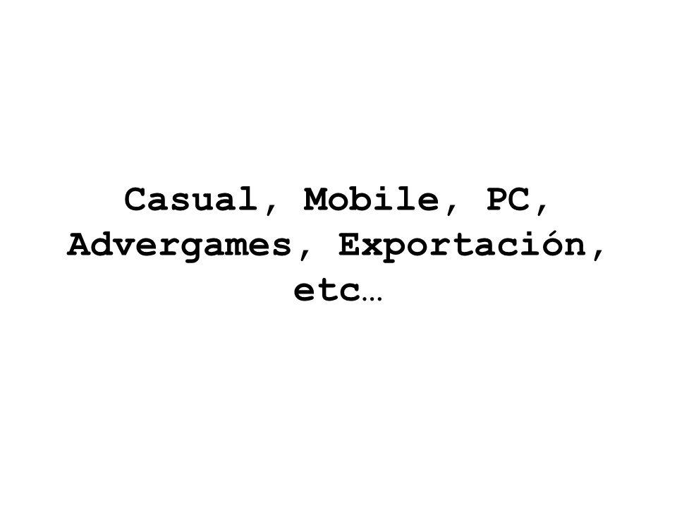 Casual, Mobile, PC, Advergames, Exportación, etc…