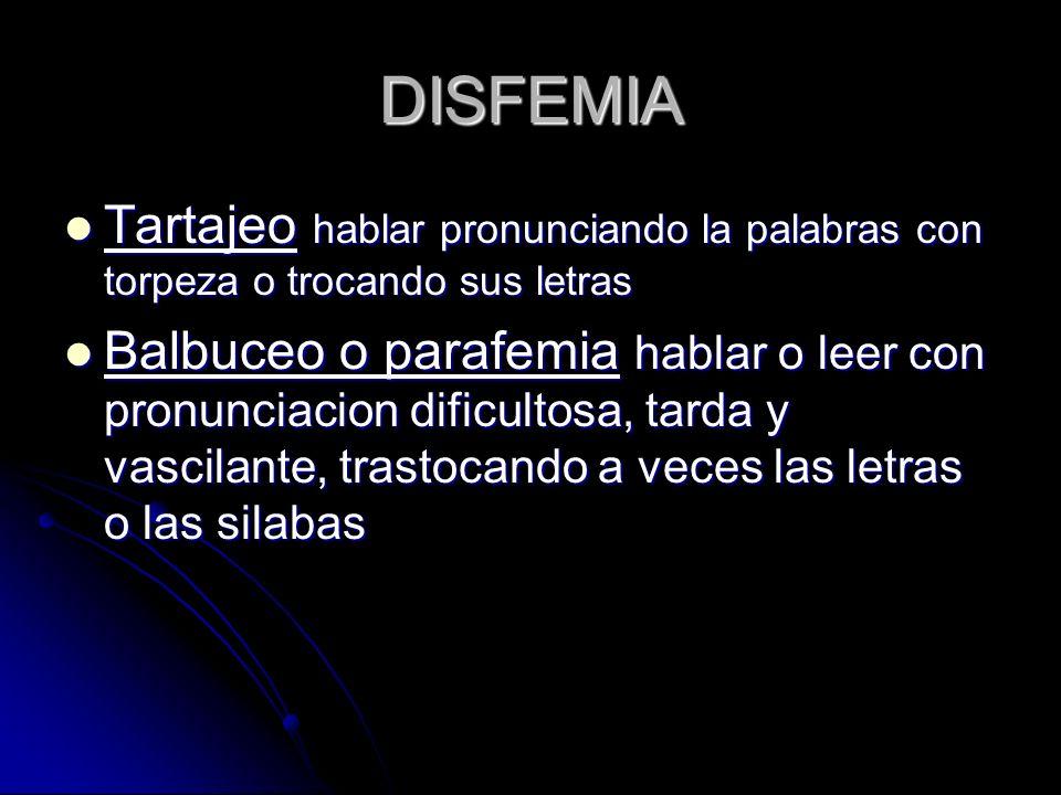 DISFEMIA Tartajeo hablar pronunciando la palabras con torpeza o trocando sus letras.