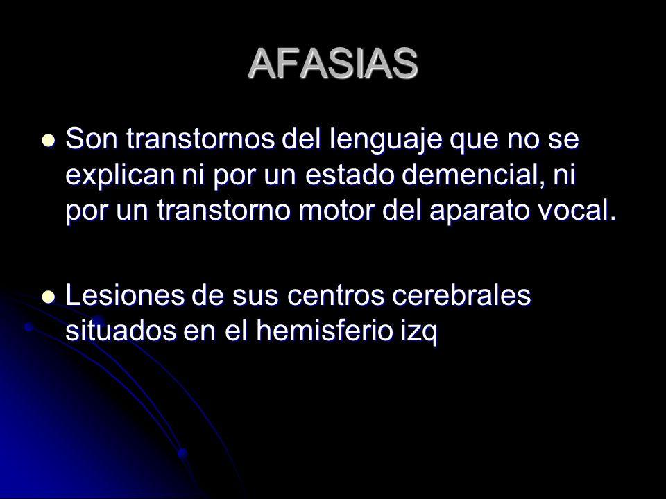 AFASIASSon transtornos del lenguaje que no se explican ni por un estado demencial, ni por un transtorno motor del aparato vocal.