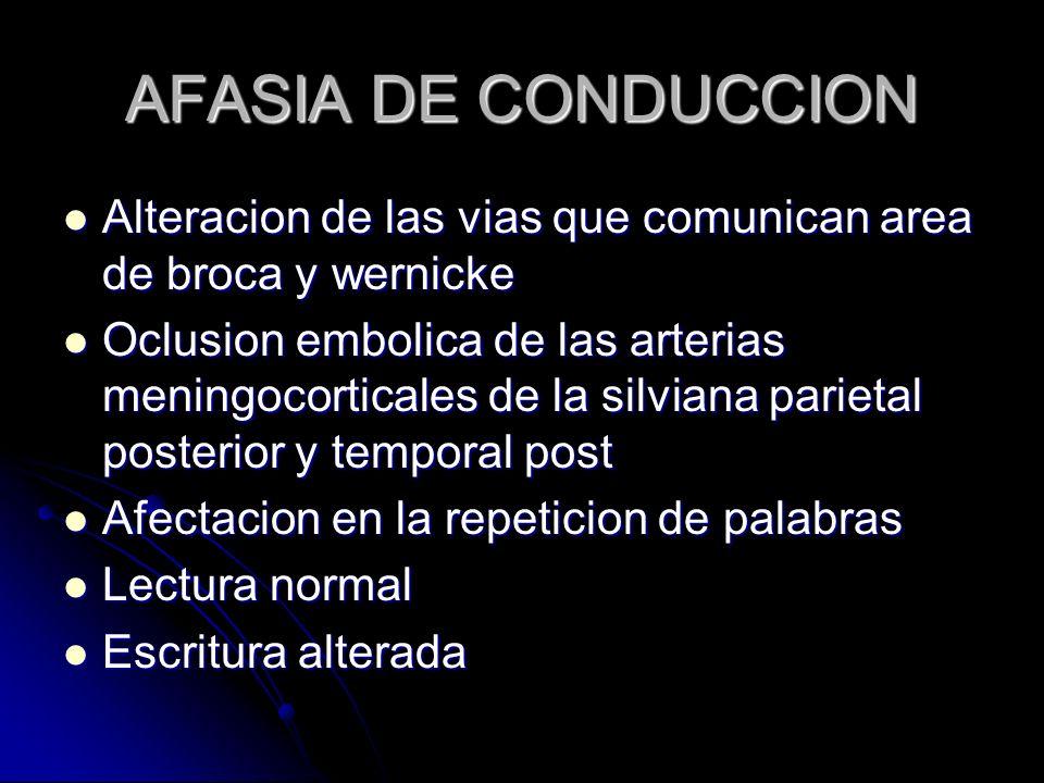 AFASIA DE CONDUCCION Alteracion de las vias que comunican area de broca y wernicke.