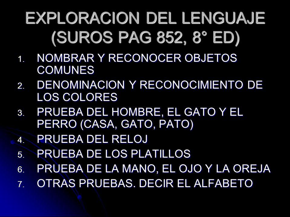 EXPLORACION DEL LENGUAJE (SUROS PAG 852, 8° ED)