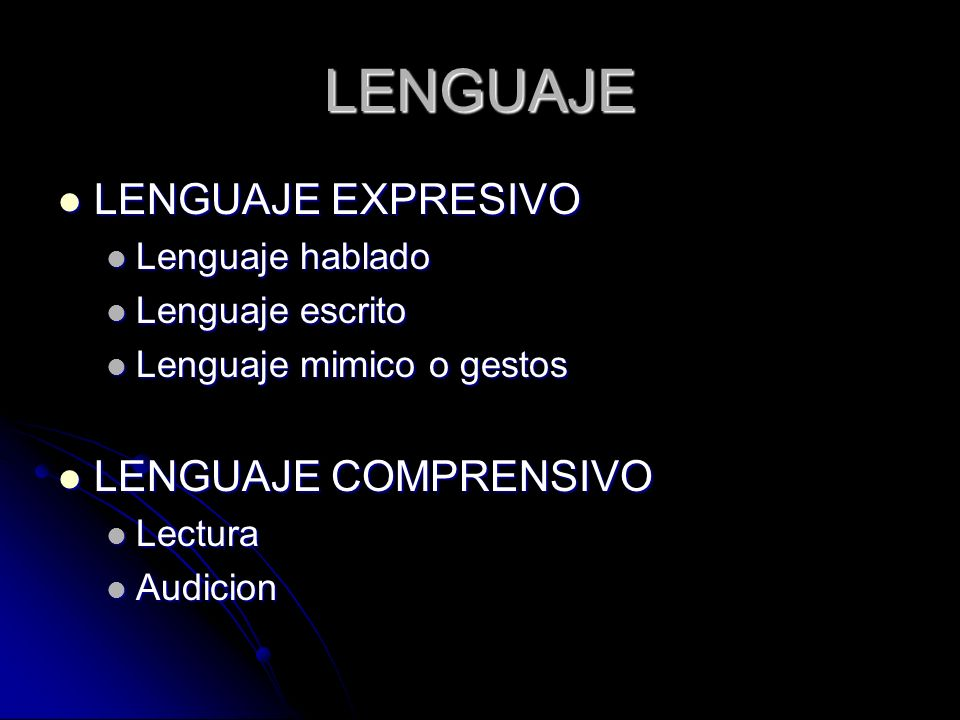 LENGUAJE LENGUAJE EXPRESIVO LENGUAJE COMPRENSIVO Lenguaje hablado