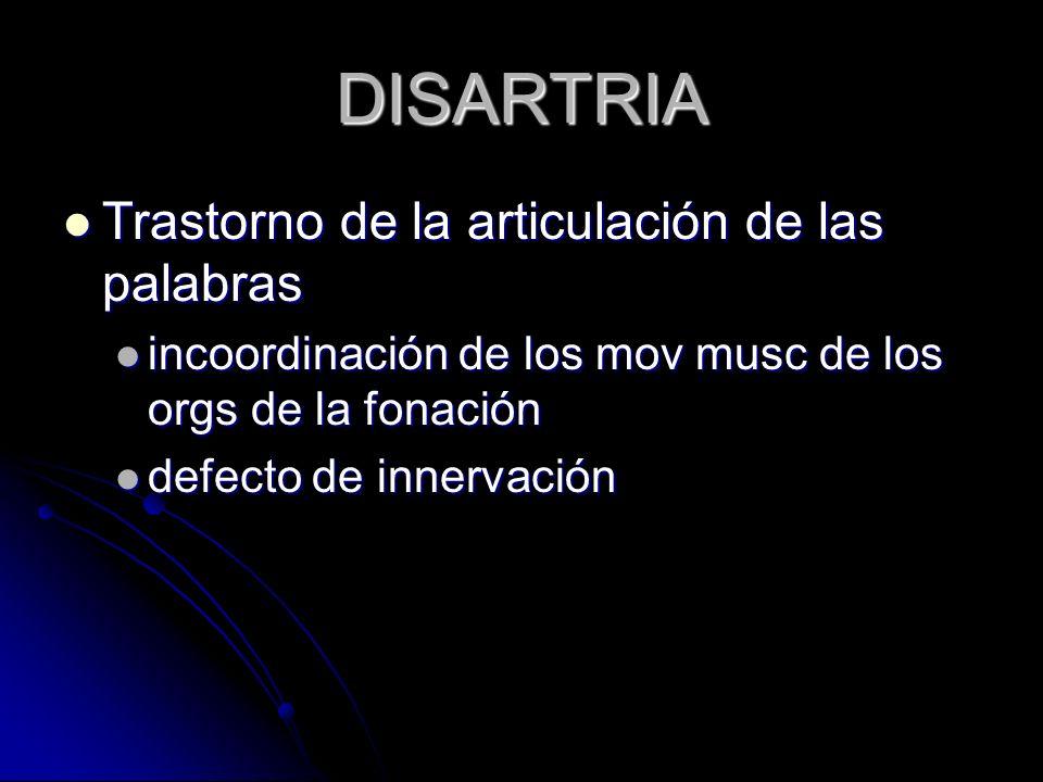 DISARTRIA Trastorno de la articulación de las palabras