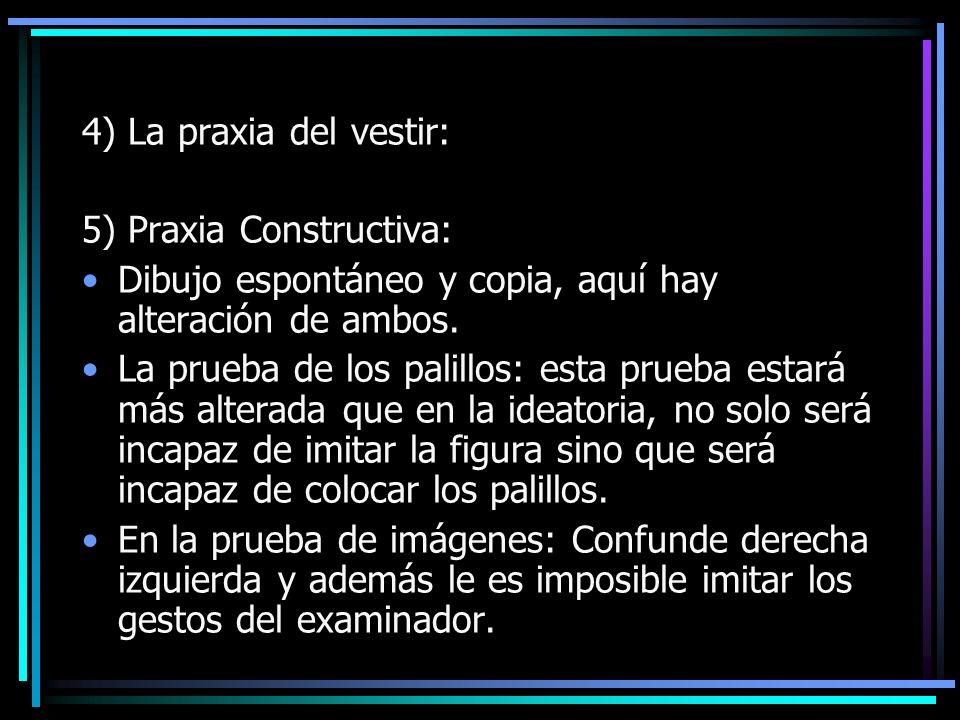 4) La praxia del vestir: 5) Praxia Constructiva: Dibujo espontáneo y copia, aquí hay alteración de ambos.