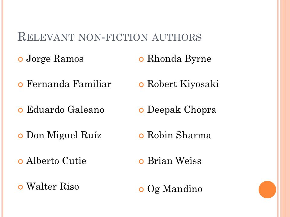 Relevant non-fiction authors