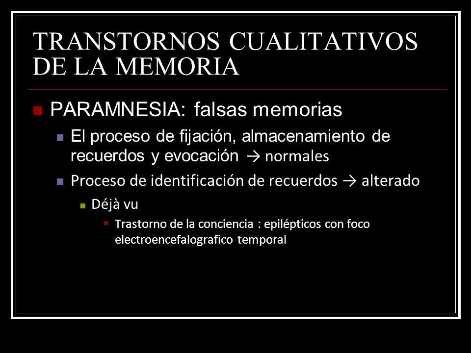 TRANSTORNOS CUALITATIVOS DE LA MEMORIA