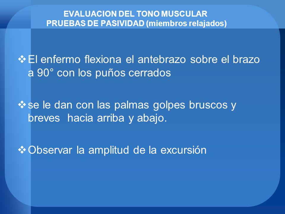 EVALUACION DEL TONO MUSCULAR PRUEBAS DE PASIVIDAD (miembros relajados)