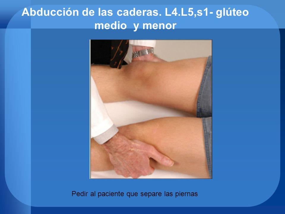 Abducción de las caderas. L4.L5,s1- glúteo medio y menor
