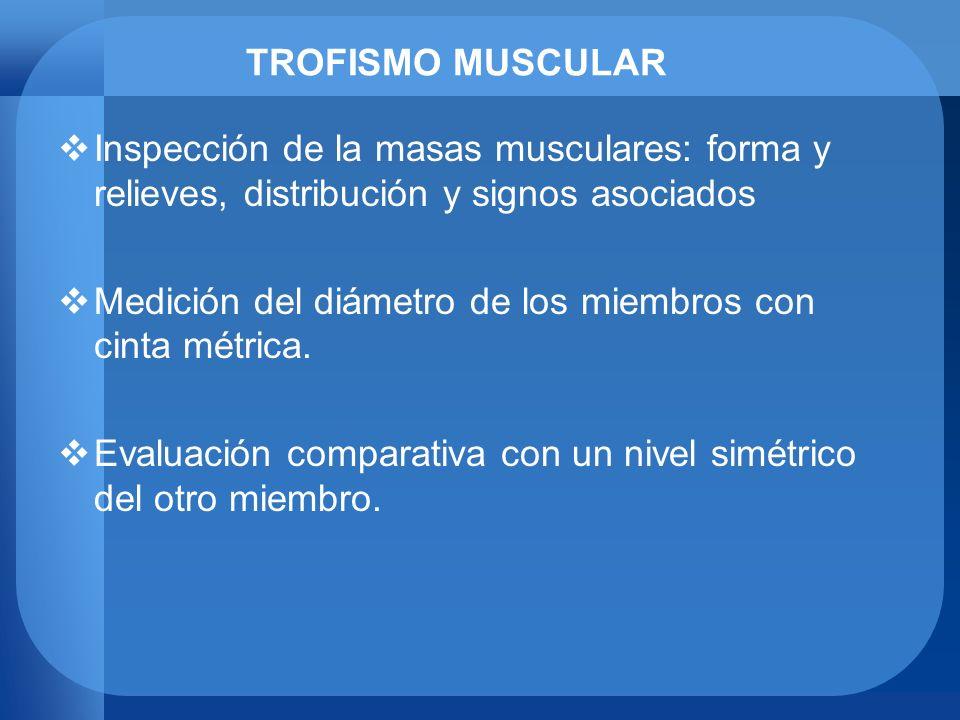 TROFISMO MUSCULAR Inspección de la masas musculares: forma y relieves, distribución y signos asociados.