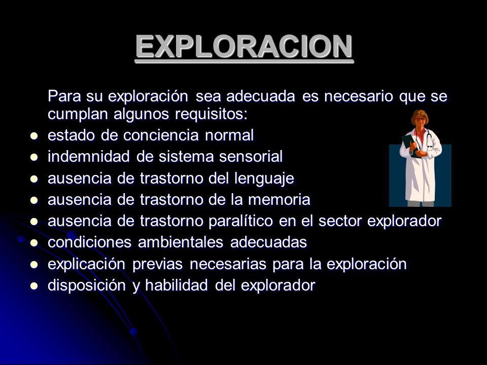 EXPLORACION Para su exploración sea adecuada es necesario que se cumplan algunos requisitos: estado de conciencia normal.