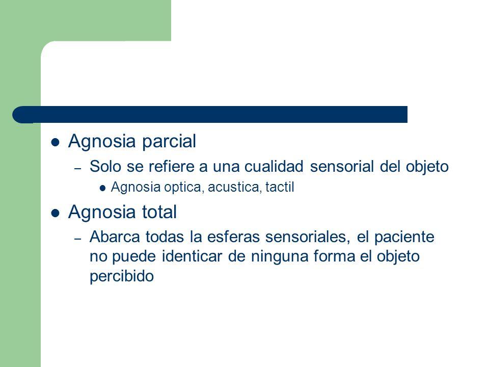 Agnosia parcial Agnosia total