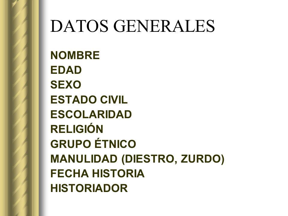 DATOS GENERALES NOMBRE EDAD SEXO ESTADO CIVIL ESCOLARIDAD RELIGIÓN