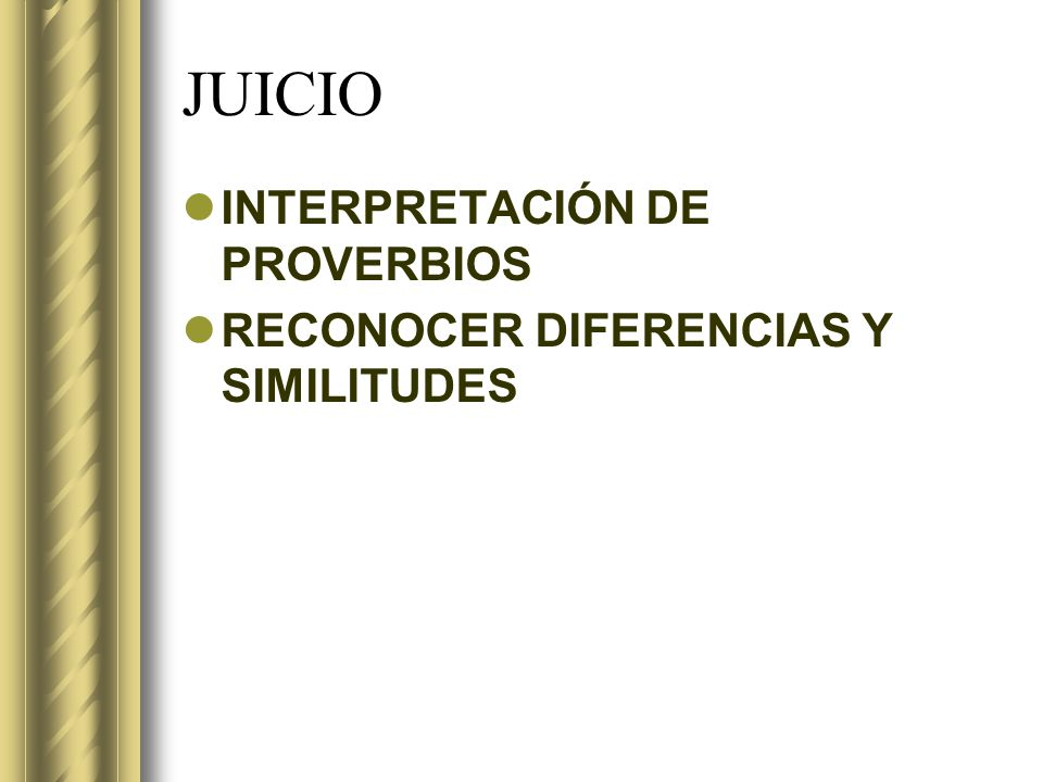 JUICIO INTERPRETACIÓN DE PROVERBIOS
