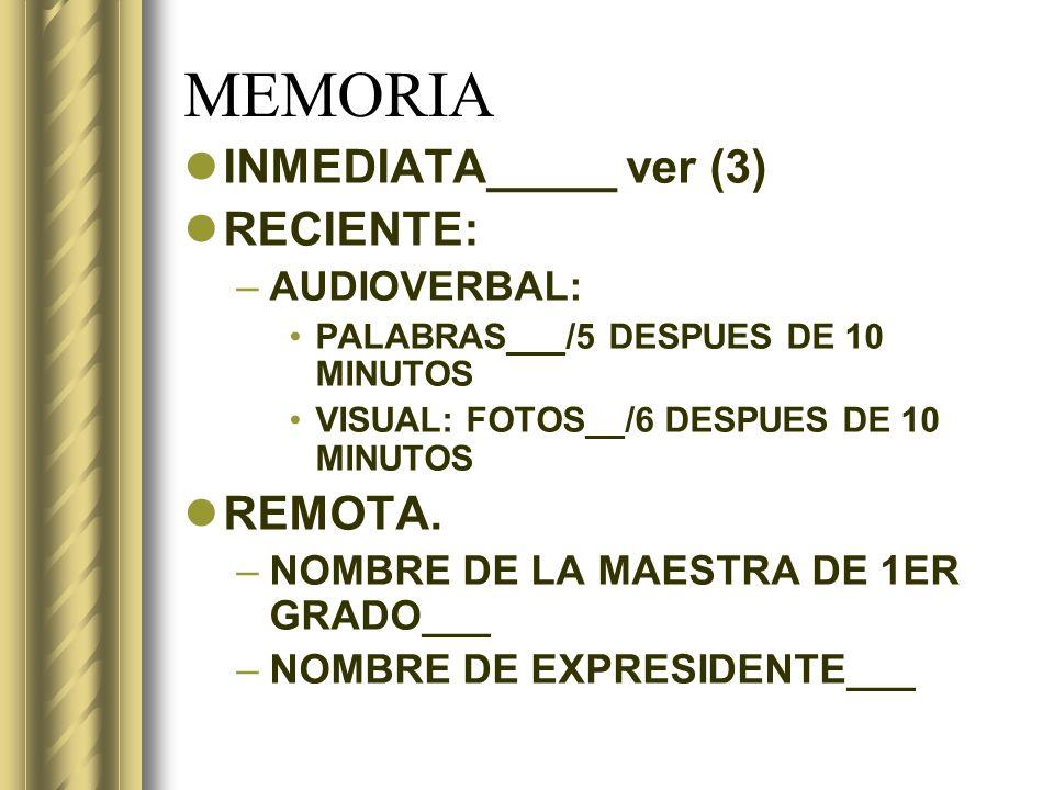 MEMORIA INMEDIATA_____ ver (3) RECIENTE: REMOTA. AUDIOVERBAL:
