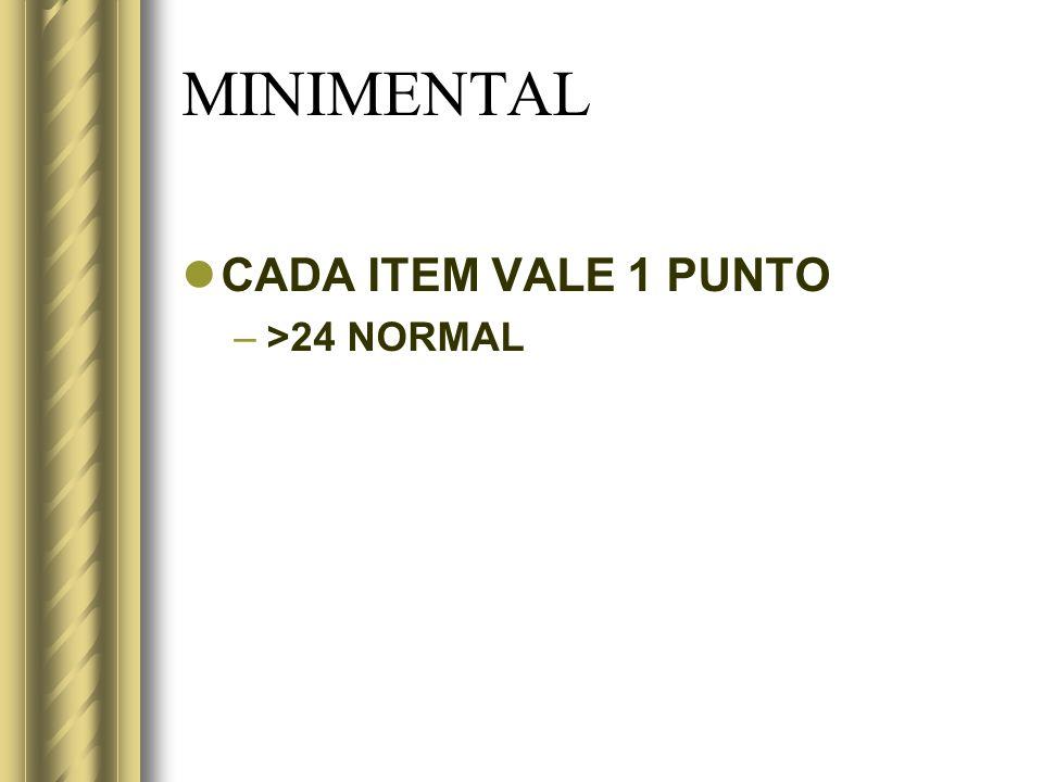 MINIMENTAL CADA ITEM VALE 1 PUNTO >24 NORMAL
