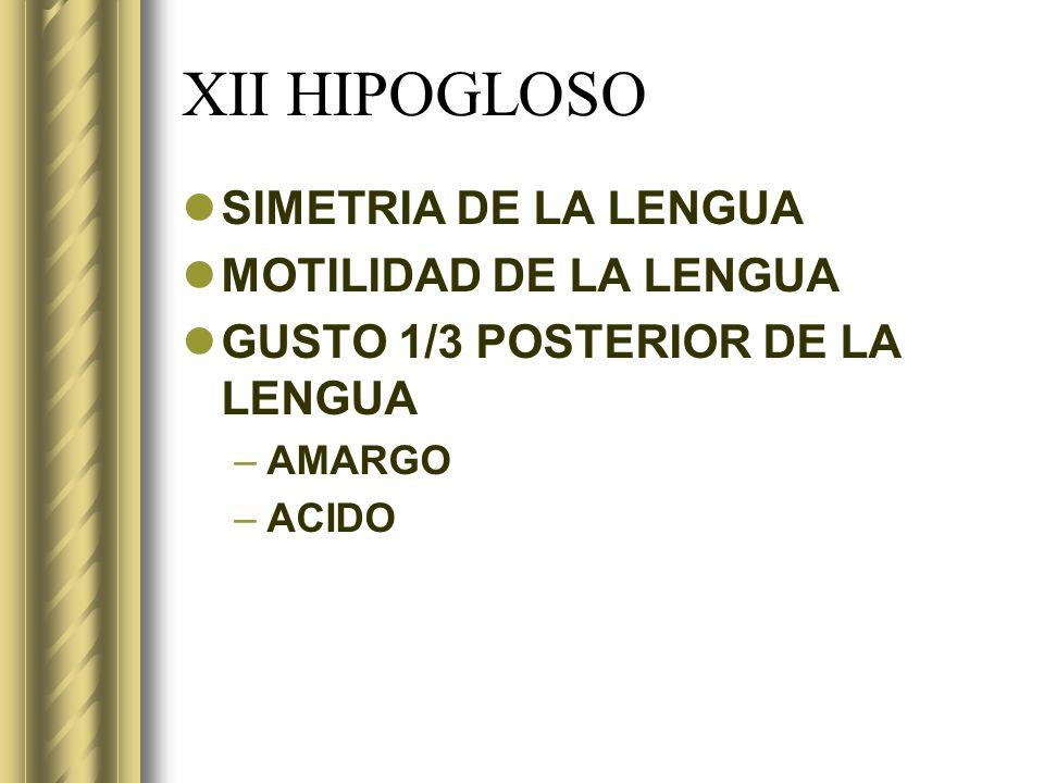 XII HIPOGLOSO SIMETRIA DE LA LENGUA MOTILIDAD DE LA LENGUA