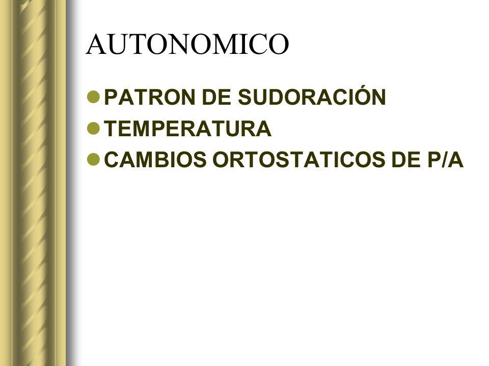 AUTONOMICO PATRON DE SUDORACIÓN TEMPERATURA
