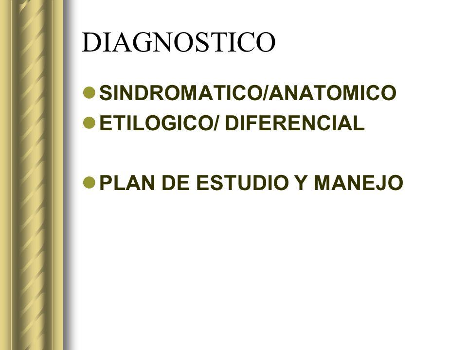 DIAGNOSTICO SINDROMATICO/ANATOMICO ETILOGICO/ DIFERENCIAL