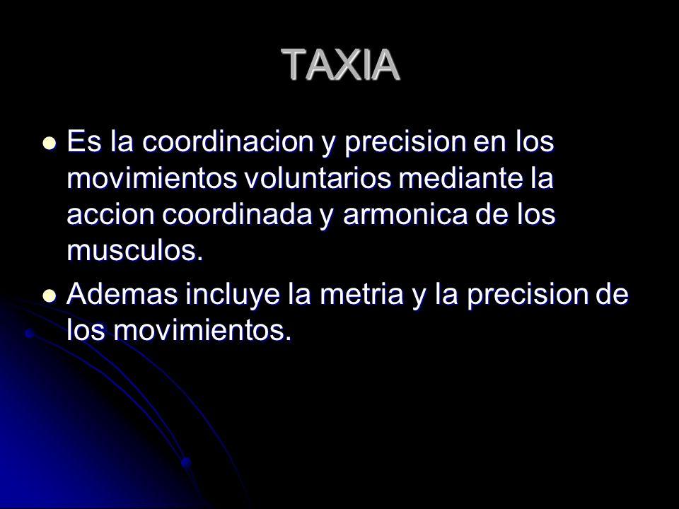TAXIA Es la coordinacion y precision en los movimientos voluntarios mediante la accion coordinada y armonica de los musculos.