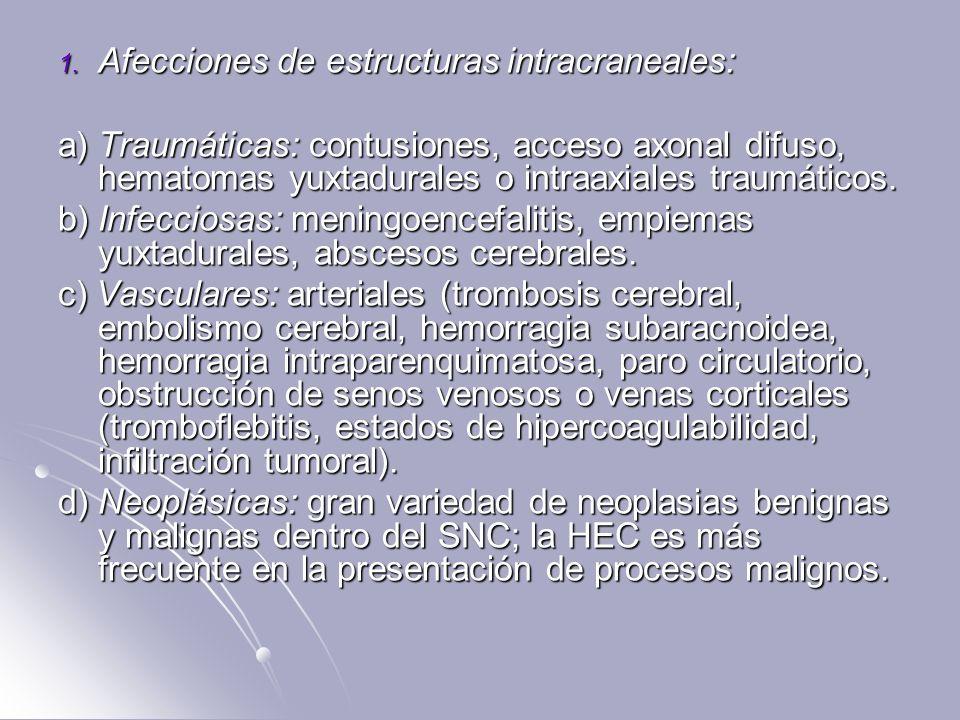 Afecciones de estructuras intracraneales: