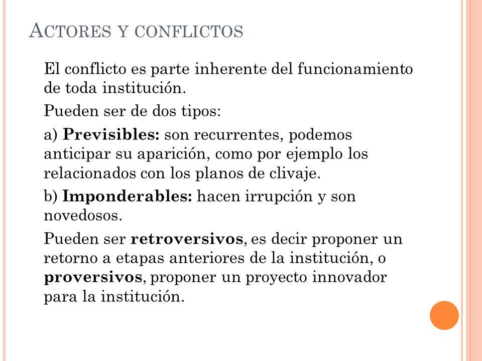 Actores y conflictos El conflicto es parte inherente del funcionamiento de toda institución. Pueden ser de dos tipos: