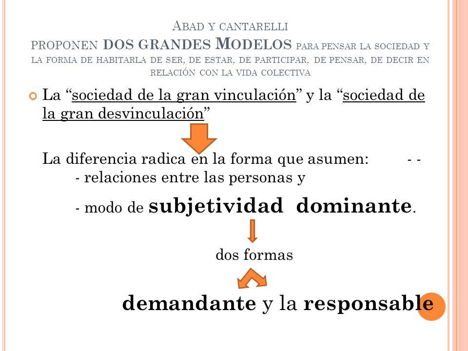 - modo de subjetividad dominante.
