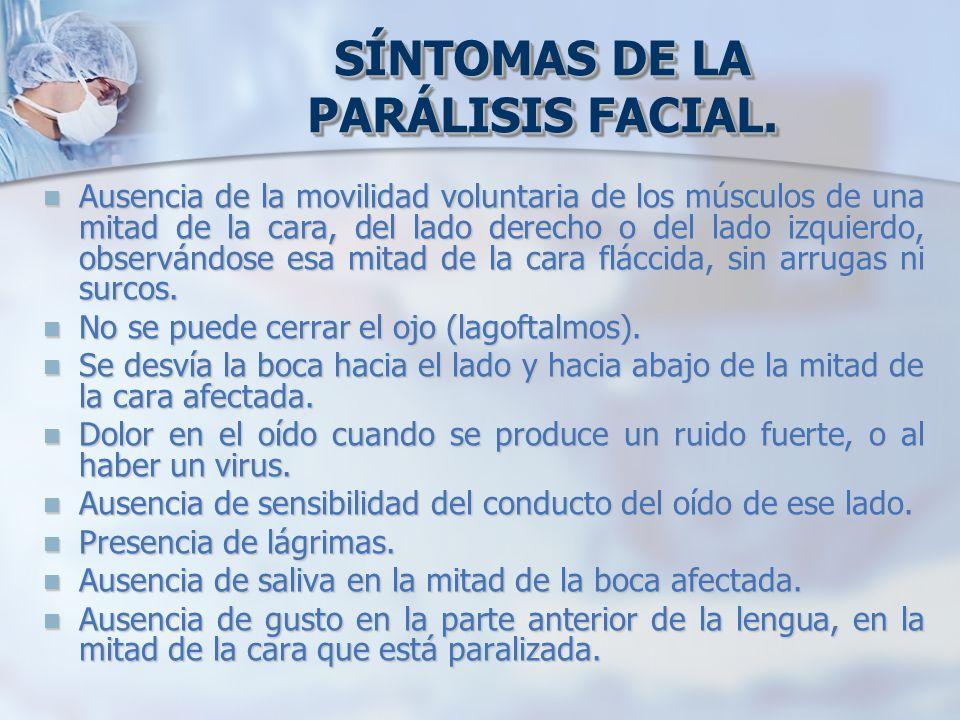 SÍNTOMAS DE LA PARÁLISIS FACIAL.