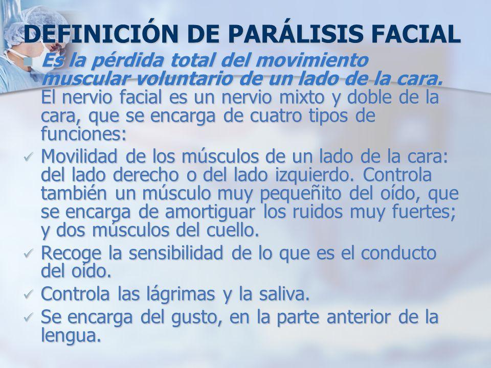 DEFINICIÓN DE PARÁLISIS FACIAL
