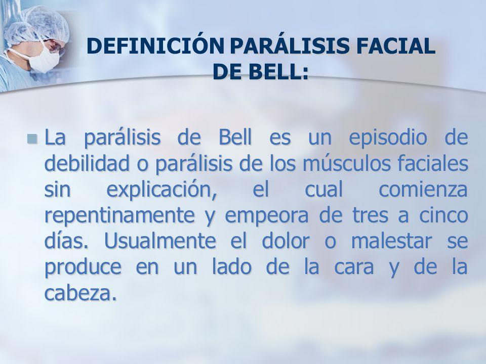DEFINICIÓN PARÁLISIS FACIAL DE BELL: