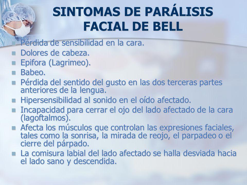 SINTOMAS DE PARÁLISIS FACIAL DE BELL